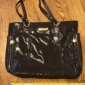 Chocolate brown patent tote